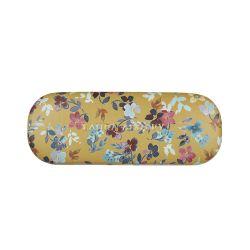 funda de gafas estampada de diseño amarilla con flores de colores