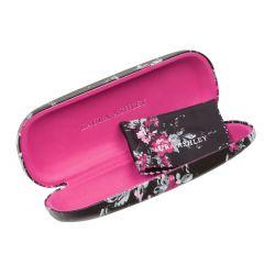 funda de gafas estampada de diseño negra con flores rosas