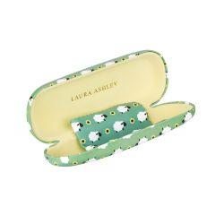 funda de gafas estampada de diseño verde con ovejas y flores