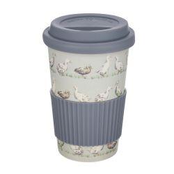 taza de café para llevar de bambú gris con patos estampados