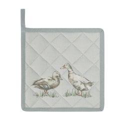 sujeta sartenes de tela de algodón estampado con patos en color gris
