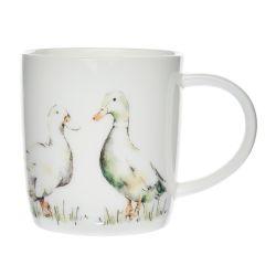 taza de cerámica gris con estampado de patos