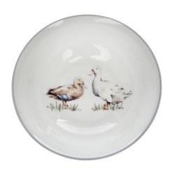 cuenco plato de cerámica gris con estampado de patos