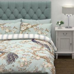 funda nórdica de algodón estampada con pavos reales y rayas en tonos azules de calidad y diseño