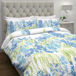 funda nórdica blanca estampada con grandes flores azules de diseño