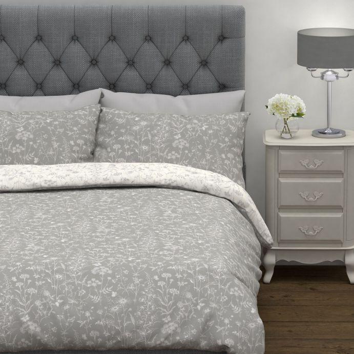 conjunto de funda para cama gris y blanco con flores reversible de diseño