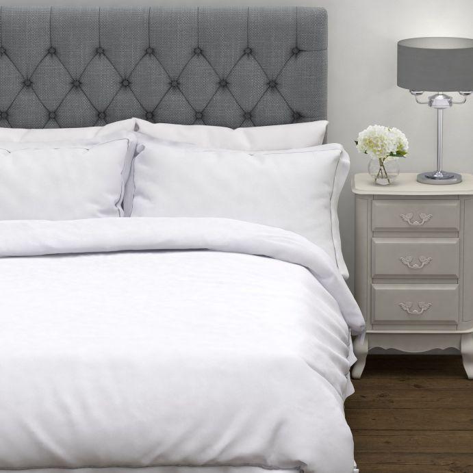 funda nórdica blanca de algodón de máxima calidad con ribete gris