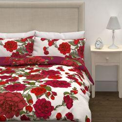funda nórdica de rosas rojas de algodón de diseño