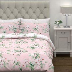 conjunto de funda nórdica rosa con flores estampadas en algodón y diseño reversible