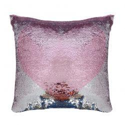 cojín de lentejuelas con corazón rosa de diseño