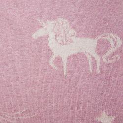 manta de punto rosa con estampado de unicornios