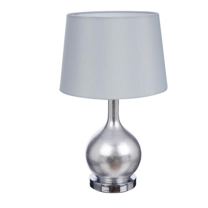 lámpara plateada con base redonda y pantalla tambor de diseño