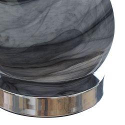 lámpara completa gris con base de cristal de diseño mineral y pantalla gris de diseño