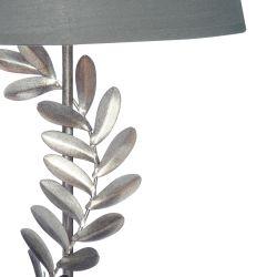 lámpara completa de base cromada decorada con hojas de diseño y pantalla gris plata