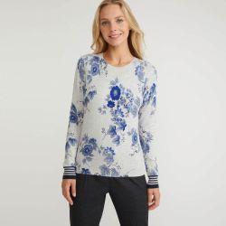 Jersey floral gris plateado con cuello redondo