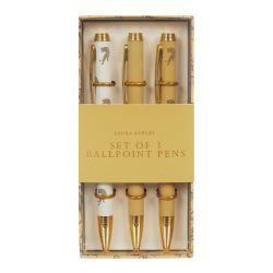 conjunto de 3 bolígrafos dorados de diseño con leopardos en caja de regalo
