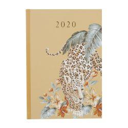 agenda semanal 2020 en color dorado y estampado de leopardo de diseño