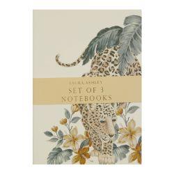conjunto de 3 libretas estampadas en tonos dorados con estampado de leopardo