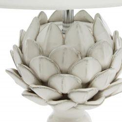 lámpara completa de diseño con base en forma vegetal, detalle de alcachofa, en tonos claros