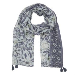 pañuelo floral azul con borla
