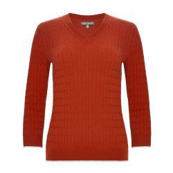 Jersey con cuello en V naranja tostado