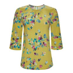 Blusa de estampado Melody floral en color chartreuse.