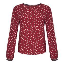 Blusa con puños de color rubí con  pétalos estampados