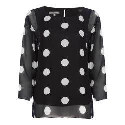 Blusa de doble capa con estampado de lunares