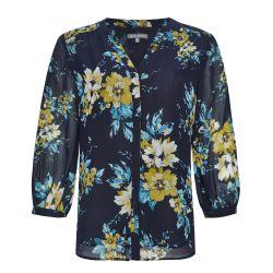 Blusa azul marino oscuro con flores