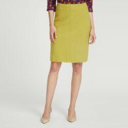Falda recta de lana con costuras visibles color ocre chartreuse