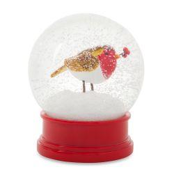 bola de nieve decorada con pajarito en tonos rojos de Navidad