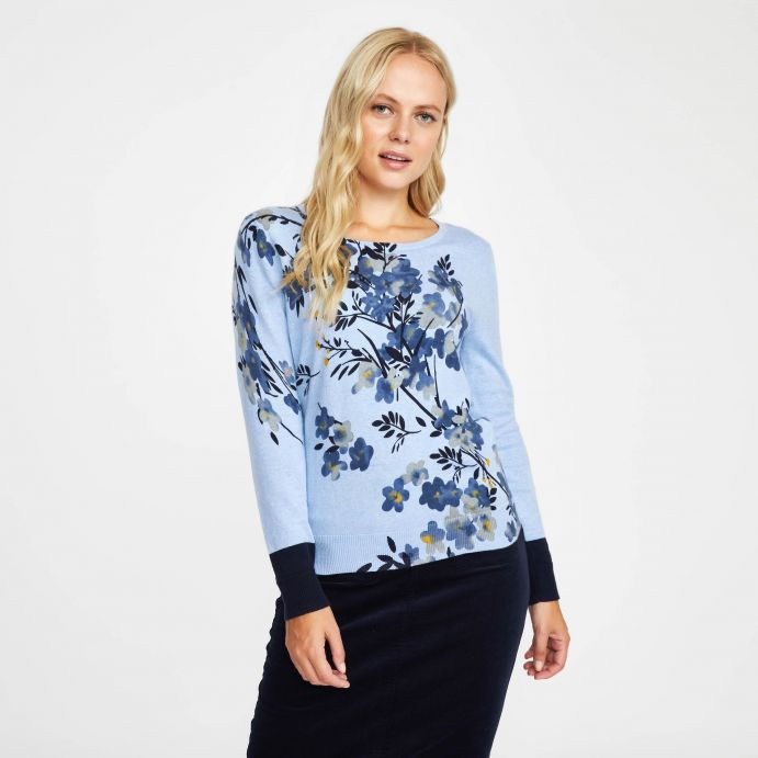 Jersey estampado en flores en tonos azules
