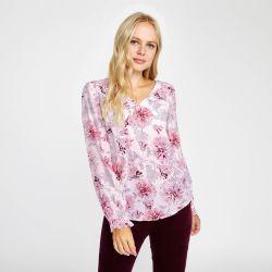 Blusa cuello en pico con estampado floral