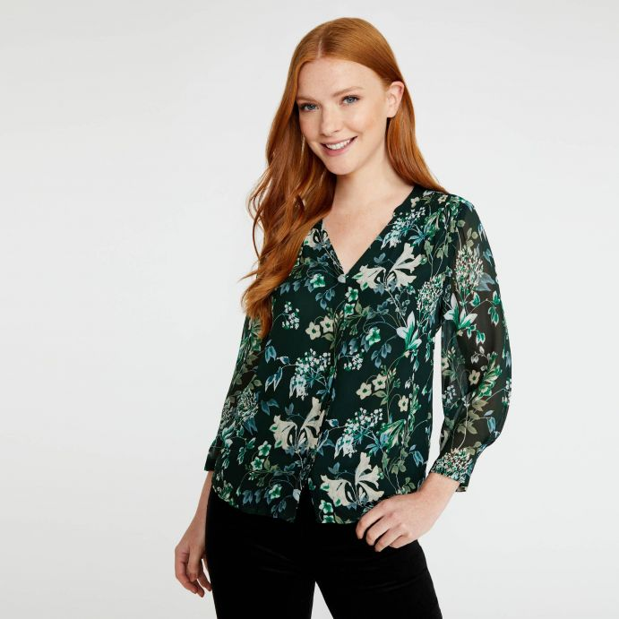 Blusa floral estampada en tonos verdes