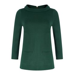 Top verde escote Bardot