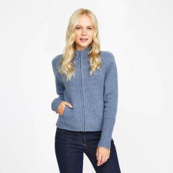 Chaqueta de lana azul con cremallera
