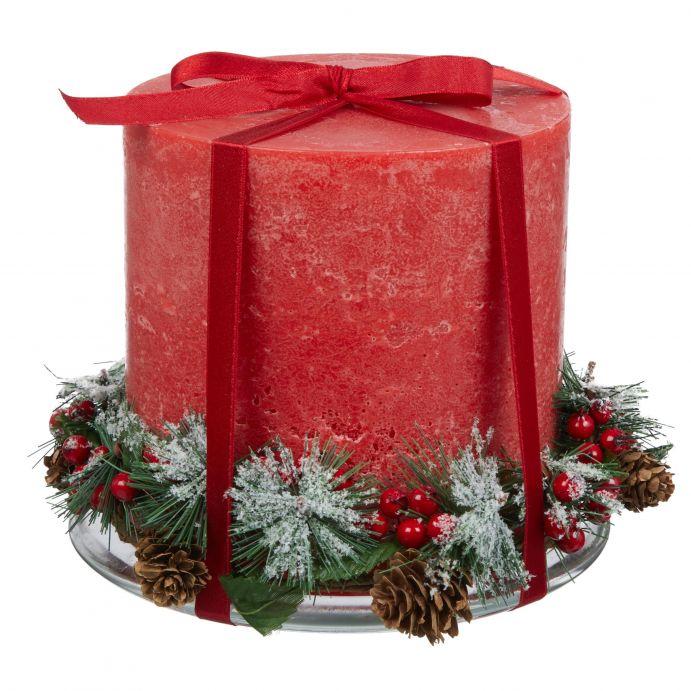 vela navideña roja 3 mechas