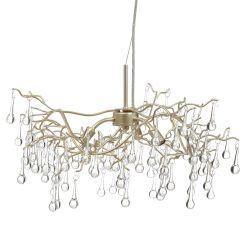 lámpara de techo con original diseño de ramas y lágrimas de cristal colgantes