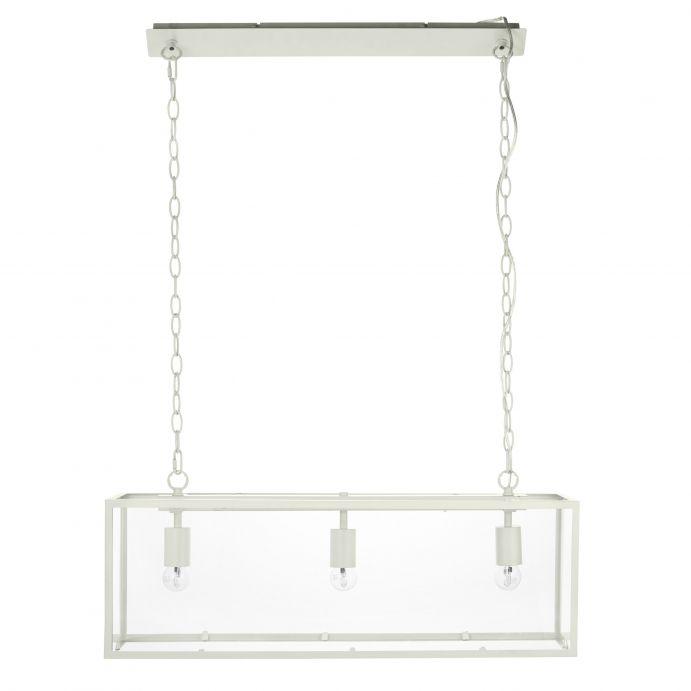lámpara de techo rectangular en cristal y metal crema