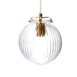 lámpara de techo de cristal acanalado en forma de globo con soporte de dorado