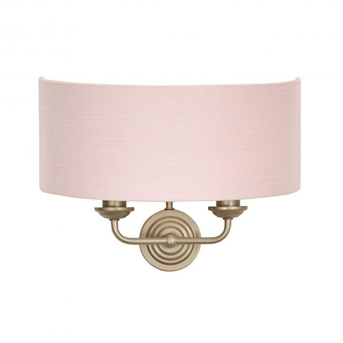 aplique de pared de 2 brazos con pantalla textil rosa