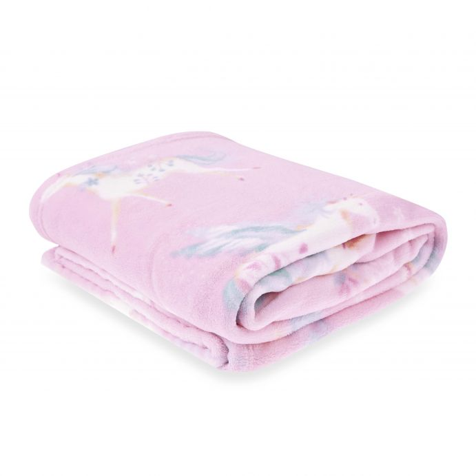 manta polar rosa con estampado de unicornios de diseño