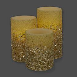 Juego de 3 velas LED Champagne