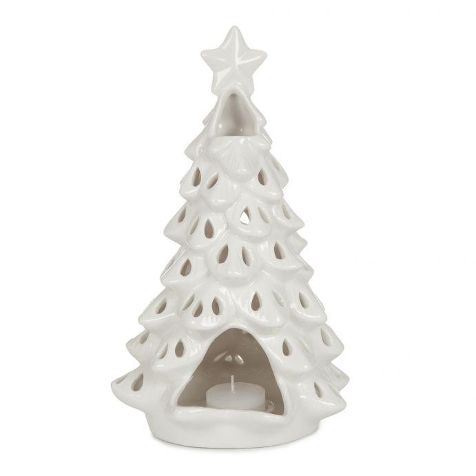 Portavelas árbol Navidad de cerámica