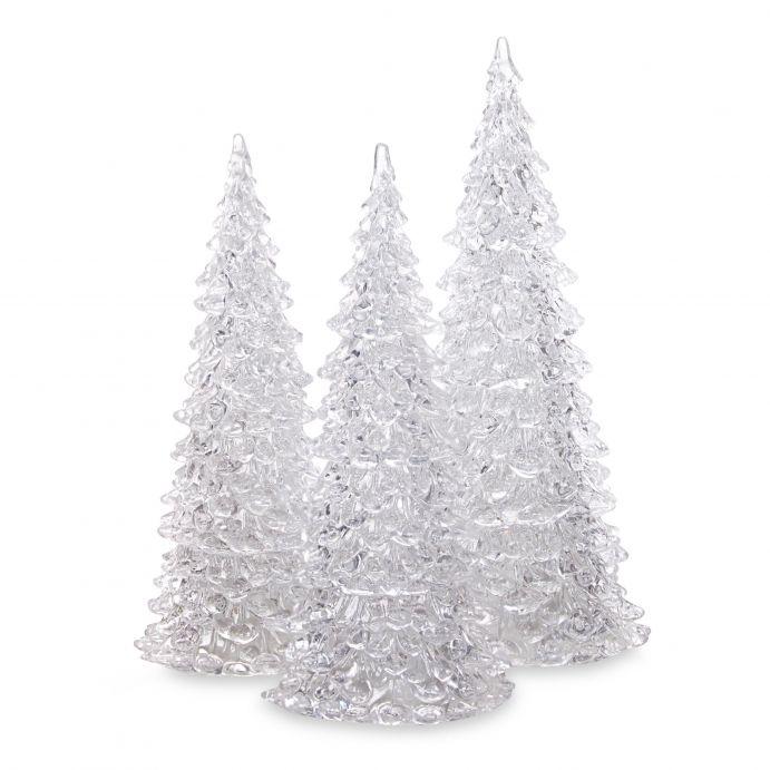 3 pinos iluminados escarchados