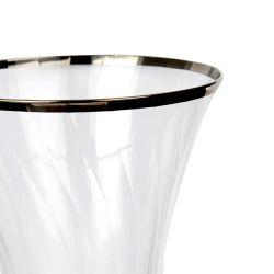 Decantador de cristal con canto plateado