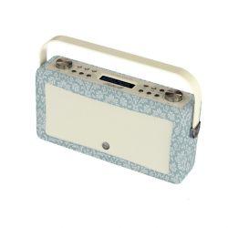 altavoz radio digital bluetooth hepburn de diseño retro azul estampado
