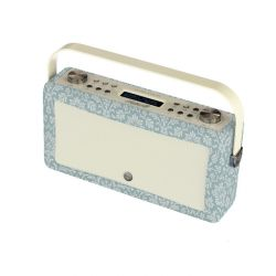 altavoz radio digital bluetooth hepburn de diseño retro azul estampado