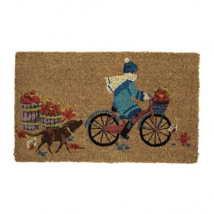 felpudo de fibra estampado con bicicleta, perro y hojas de otoño de diseño