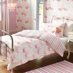 funda nórdica estampada con flamencos rosas de diseño